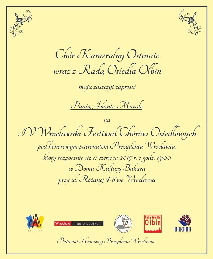 Zaproszenie na Festiwal Chórów Osiedlowych