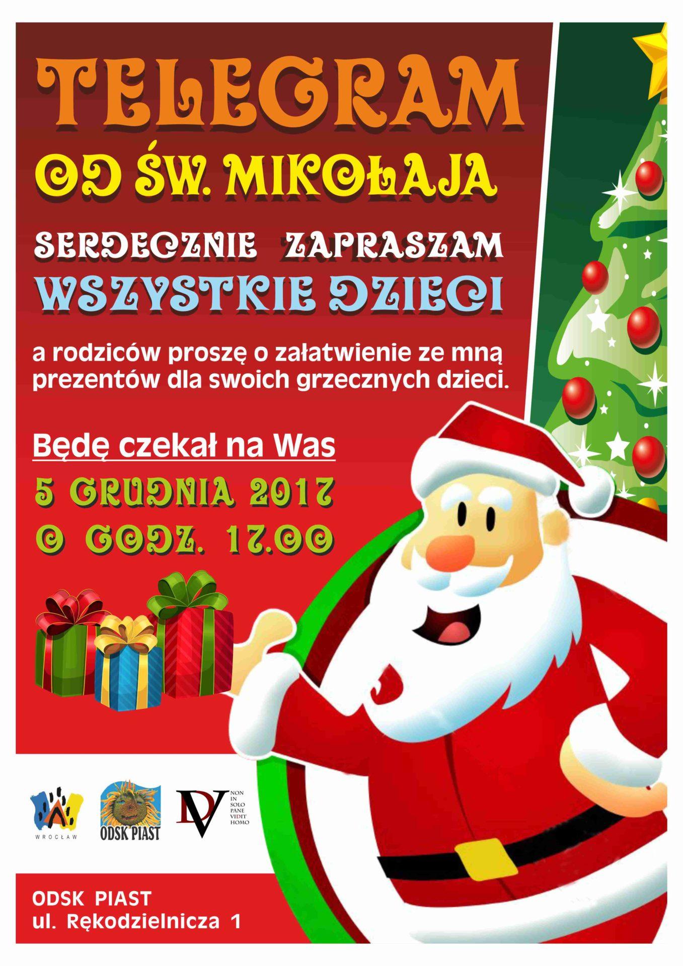 Telegram do świętego Mikołaja